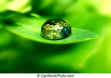 earth is my home - earth map in waterdrop reflection on...