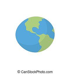 Earth isolated cartoon style. Planet of solar system on white background