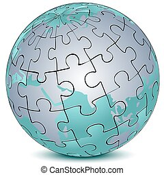 earth jigsaw puzzle - illustration of earth jigsaw puzzle on...
