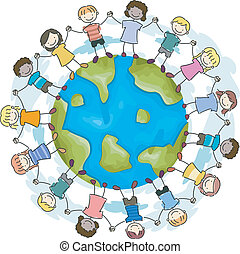 Earth Kids Unity - Doodle Illustration Featuring Kids...