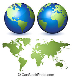 Earth kit - Two globes representing the Earth and a...