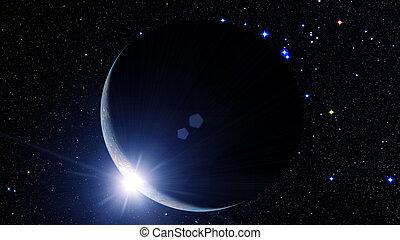 earth., kosmisch, zonopkomst, abstract, ruimte, planeet, achtergrond.