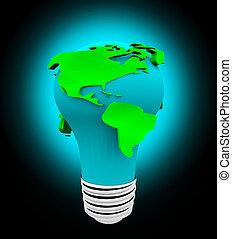 Earth Light Bulb - White Background
