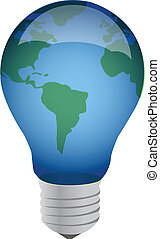 earth lightbulb illustration design