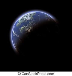 earth-like , πλανήτης , επάνω , μαύρο φόντο