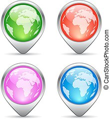 Earth location markers set