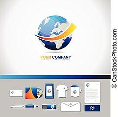 Earth logo icon 3d symbol