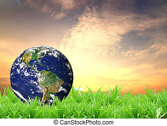 Earth lying on a green lawn  - Earth lying on a green lawn