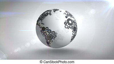 Earth made of cogs and wheels on bright background