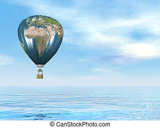 Earth map hot air balloon - 3D render