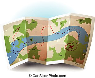 Earth Map Icon - Illustration of a symbolized printed earth...
