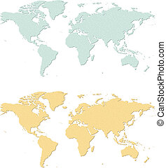 Earth map - An illustration of two sandpaper earth maps.