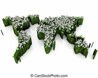 Earth map with grass and flowers