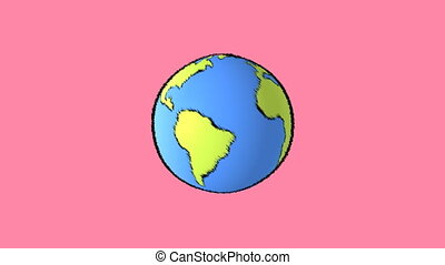 earth map with pink background