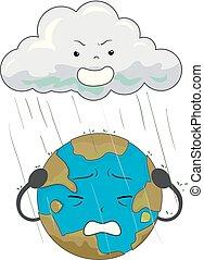 Earth Mascot Acid Rain Illustration