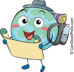 Earth Mascot Map Traveler Illustration