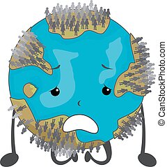 Earth Mascot Over Population Illustration