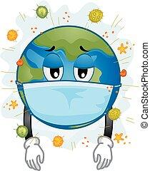 Earth Mascot Sick Mask Virus Illustration