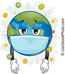 Earth Mascot Sick Mask Virus Illustration