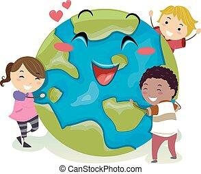 Earth Mascot Stickman Kids Love Illustration