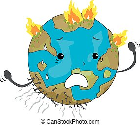 Earth Mascot Wildfire Illustration
