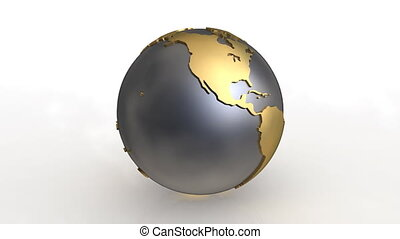 Earth metal - 3D rotating earth on white background
