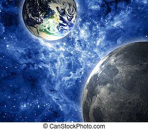 Earth, Moon and galaxy