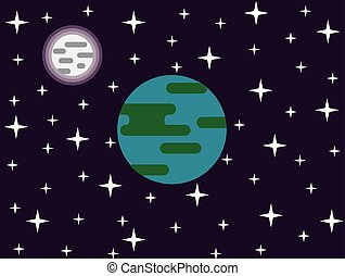 Earth Moon and Stars in Space Flat Design