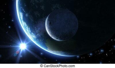 Earth, moon and sun. Blue light.