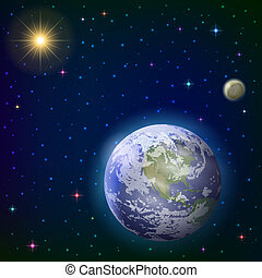 Space background with realistic planet mother Earth, moon, sun and stars. Elements of this image furnished by NASA (www. visibleearth. nasa. gov). Eps10, contains transparencies. Vector