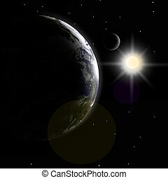 Earth, moon and sunlight