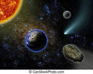 Earth, Moon, Comet, Meteor