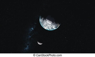 Earth moon orbit dark outer space constellation - Earth Moon...