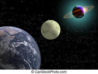 Earth Moon, Saturn With A New Sun