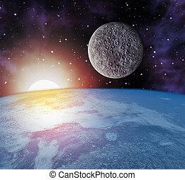 earth moon sun in space