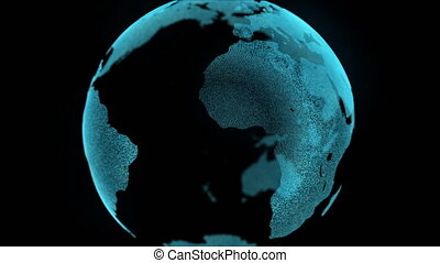 Earth motion digital map zoom in business concept