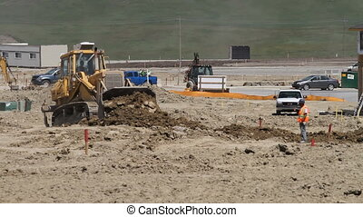 Earth moving construction - Earthmovers preparing new ...