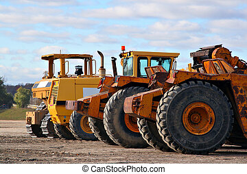 earth moving equipments in construction side