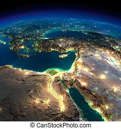 earth., moyen-orient, afrique, nuit