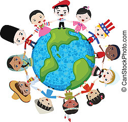 earth multicultural children hand in hand