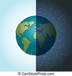 Earth night and day. Nighttime Planet in space. Lot of stars...