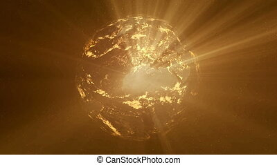 Earth night with yellow shine - THIS IS NOT A DIRECT NASA...