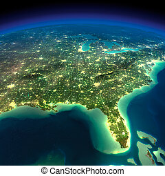 earth., noche, florida, golfo, méxico