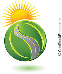 Earth of leafs sun and road logo
