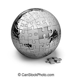 Earth of the puzzle - Earth metal puzzles. 3d image....