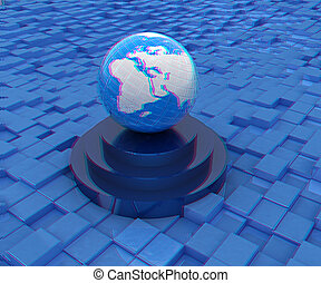 earth on a podium against abstract urban background. 3D illustration. Anaglyph. View with red/cyan glasses to see in 3D.