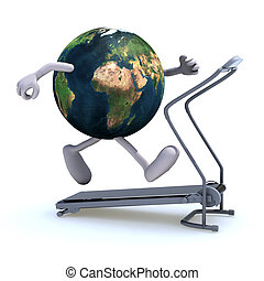 earth on a running machine