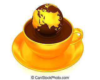 Earth on cup of coffee. 3d