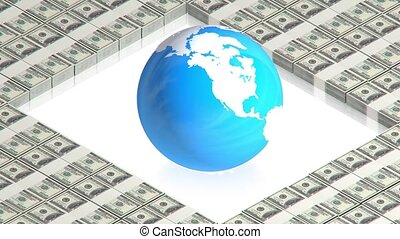 Earth on dollars - part of isometric collections of animated...