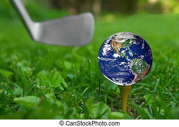 Earth on golf tee